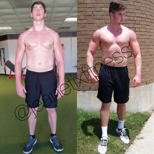 Garret's transformational picture process to building muscle mass in our Jeanetix Fitness Richardson Gym.